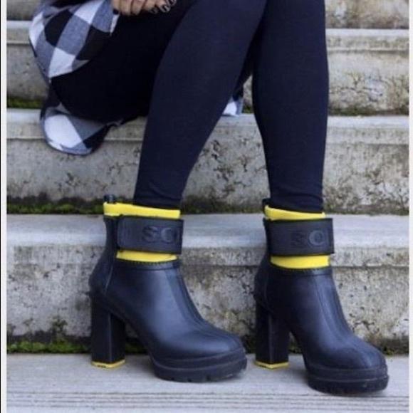 f1ca47a29d3 Sorel Black/Yellow Medina Iii Waterproof Heel Boot